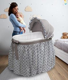 Badger Basket 'Wishes' Oval Bassinet Full-Length Skirt (gray lantern - Oval - Assembly Required - Rocking Ability - Synthetic Fiber/Plastic/Metal - Traditional), Grey Baby Crib Bedding, Baby Bassinet, Baby Cribs, Bassinet Ideas, Full Length Skirts, Pvc Vinyl, Baby Furniture, Children Furniture, Bedroom Decor