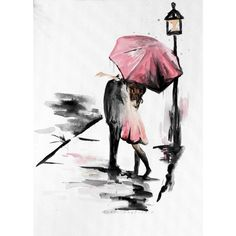 Couple with Umbrella, Romance painting, Kissing in the rain ❤ liked on Polyvore featuring home, home decor, wall art, 2 piece wall art and twin pack