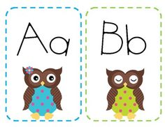 Owl themed alphabet for word wall