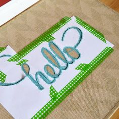 """IKEA Hackers: A """"Hello"""" mat is the new """"Welcome"""" mat! To dress up a plain HESSUM door mat, I used leftover latex paint and a stencil I made on my computer to add this cute """"Hello"""" design. I finished the hack by spraying the design with Scotch Gard protectant spray."""