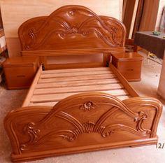 Steel Bed Design, Wood Bed Design, Bedroom Bed Design, Bedroom Furniture Design, Home Room Design, Bed Furniture, Front Door Design Wood, Wooden Door Design, Rustic Living Room Furniture