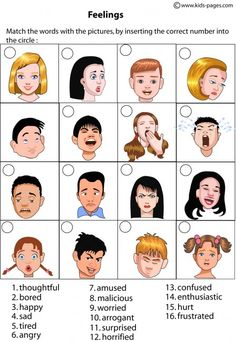 Kids Pages - Feelings Matching 1 - includes multiple worksheet activities to help kids learn about emotions. || repinned by CamerinRoss.com