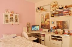 I love how the white accents and the color of the pink walls are how my room looks like, except this is more neat and nice to look at.