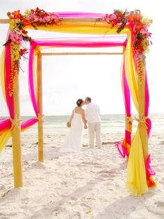 Tropical Beach Wedding 4 Post Bamboo With Turquoise