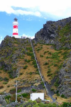 The candy-striped Cape Palliser lighthouse in New Zealand, built in 1897