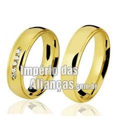 Alianças de Casamento Largura 5.0mm Pedras 5 Diamantes de 1 ponto e 1 rubi Acabamento Liso Formato Anatômico