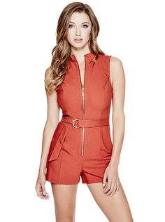 Raquel Belted Romper at Guess Cute Fashion, Womens Fashion, Fashion Styles, Guess Clothing, Guess Jeans, Sexy Dresses, Rompers, Lifestyle, Denim