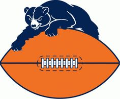 Chicago Bears Primary Logo (1954) - A blue bear lying on top of an orange football