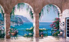 inviting mural for home | Mediterranean Arch Wall Mural | Decor Place Wall Murals