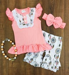 Bella Coral Dreamcatcher Ruffle Short Set #boutique-outfits #new #perfect-sets #spring-line