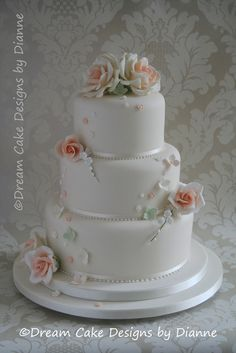'CATHERINE' ~ stylish 3 tier white wedding cake with peach coloured roses with scattered blossoms 3 Tier Cake, Tiered Cakes, Small Intimate Wedding, Dream Cake, Wedding Gallery, Peach Colors, Cake Designs, Blossoms, Our Wedding