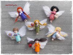 Needle felted mini Spring Fairies www.esztiboltja.hu www.facebook.hu/esztiboltja