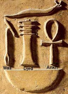 "Tree of Life, Djed, and Ankh - ""Ankh"" - symbol of life - thoracic vertebrae of a bull, ""Djed"" - symbol of stability - base or sacrum of a bull's spine, ""Was"" - symbol of power and dominion - a staff made from a dried bull's penis."