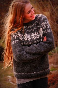 Knitting Patterns Pullover ♥ Be sure your Icelandic knitwear hand knit in the pure nature of Iceland ♥ S . Crochet Pullover Pattern, Vest Pattern, Icelandic Sweaters, Warm Sweaters, Fair Isle Knitting, Hand Knitting, Knitting Patterns, Crochet Patterns, Nordic Sweater