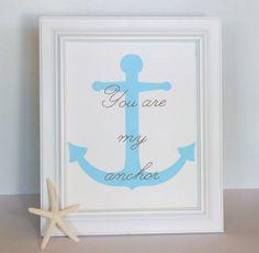 Nautical Art, Nautical Nursery, Anchor Art, You are My Anchor, 8 x 10 Painting, Sewn Paper Art. $26.00, via Etsy.