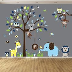 Nursery Branch Wall Decal - Elephant Wall Decal - Children wall decal - Kids Wall Decal - Children Wall Decals - Baby Room Decals - Wall Art