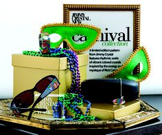Guide to Do It Yourself Display. Bright, @Jimmy Crystal New York Carnival collection. Gold accents and masquerade props complete the storyline in this fun and aesthetic display idea. #diy #merchandising