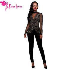 b624dbff84 Dear Lover Long Jumpsuits Playsuits Steampunk Studded Pattern Mesh Insert  Night Club Rompers Overalls for Women Winter LC64123-in Jumpsuits from  Women s ...