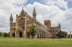 St Albans Cathedral Exterior from west, Herfordshire, UK