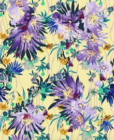 Close up detail of the Lemon Jungle Bloom Silk Chiffon Print. Click to shop the Amazonia Collection by Matthew Williamson.