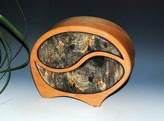 Yin Yang Wood Jewelry Box Art Box Handmade Box in Cherry with Buckeye Burl by BurlWoodBox -  Wooden Jewelry Box Small Wood Jewelry Box by BurlWoodBox