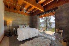 Modern log cabin-bedroom