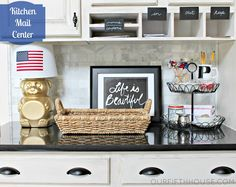 two tiers of the French Wire Tiered Stand makes a handy dandy mail center organizer. Kitchen Desk Areas, Kitchen Desks, Tidy Kitchen, Kitchen Desk Organization, Diy Organization, Mail Center, Willow House, Office Nook, Gold Spray Paint