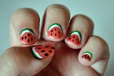 water melon nails cute!