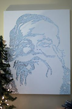 Pottery Barn knock off of a glittered Santa canvas.