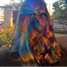 """Oil slick at sunset"" interpretive art in color by @rachellaroux #behindthechair #vibrantcolor"