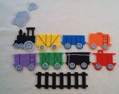 """Felt board idea for """"Freight Train"""" by Donald Crews - perfect just what I was looking for! I want to add a trestle bridge and some city buildings and a felt tunnel to make the train hide in!"""