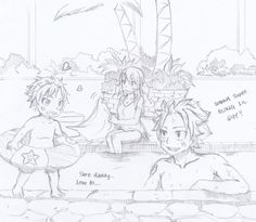NaLu family time at the pool Fairy Tail Lucy, Fairy Tail Kids, Arte Fairy Tail, Fairy Tail Family, Fairy Tale Anime, Fairy Tail Guild, Fairy Tail Couples, Fairy Tales, Nalu