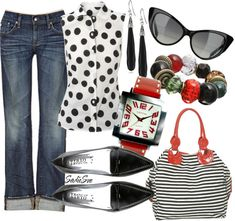"""What's black & white & red all over?"" by sadiesue on Polyvore"