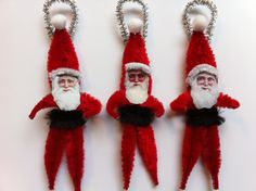 Christmas red SANTA CLAUS vintage style chenille Victorian Santa ORNAMENTS set of 3 by StanleyAndStewart on Etsy https://www.etsy.com/listing/94361692/christmas-red-santa-claus-vintage-style