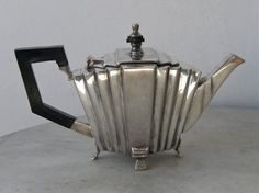 Art  Deco SILVER TEA POT Wood Handle Tapered Tiered by onceupntym