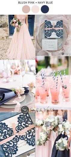 romantic navy blue and blush wedding invitations wedding colors Blush Wedding Theme, Blue And Blush Wedding, Blush Wedding Invitations, Blush Pink Weddings, Wedding Themes, Dream Wedding, Wedding Decorations, Wedding Ideas, Wedding Programs