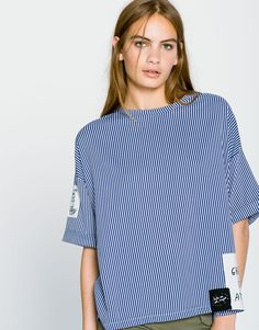 Pull&Bear - damen - neu - popelinshirt mit patches - weiss - 09244383-I2016