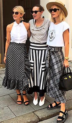 black and white style Mode Outfits, Skirt Outfits, Chic Outfits, Fashion Outfits, Womens Fashion, Fashion Trends, White Summer Outfits, Black And White Skirt, St Style