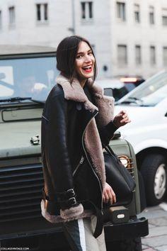 classic  shearling jacket leather jacket