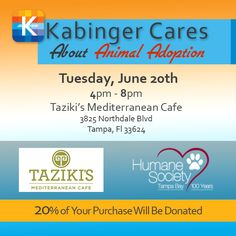 #KabingerCares for JUNE supports @HumaneTampaBay. 20% of your purchase supports Animal Adoption.