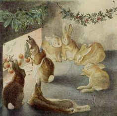 After the meal, around the hearth - The Rabbits' Christmas Party, circa 1890