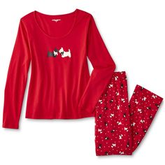 Downtime comfort starts with these women's long-sleeve pajama shirt and pants from Laura Scott. Lightweight knit fabric gives both these pieces a b... Pajama Shirt, Dog Pattern, Long Sleeve Pyjamas, Pajamas Women, Wide Leg Pants, Scottie Dogs, Scottish Terriers, Knitting, Tango