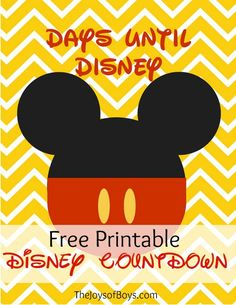 """Disney vacation in the works? Use this Free """"Days Until Disney"""" printable countdown to keep everyone excited about the trip! disney crafts for adults Disneyland Secrets, Disney Secrets, Disney Tips, Disney Love, Disney Nerd, Disney World Vacation, Disney Vacations, Disney Cruise, Disney 2017"""