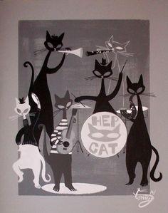 EL GATO GOMEZ PAINTING RETRO 1950S JAZZ BEATNIK CATS MID CENTURY MODERN EAMES in Paintings | eBay