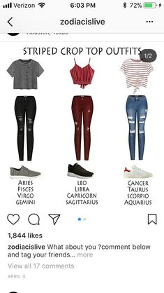 I'd wear everything but the middle top Leo Zodiac Signs Sagittarius, Zodiac Star Signs, Zodiac Horoscope, Zodiac Clothes, Zodiac Sign Fashion, Signo Libra, Cute Casual Outfits, Crop Top Outfits, Zodiac Funny
