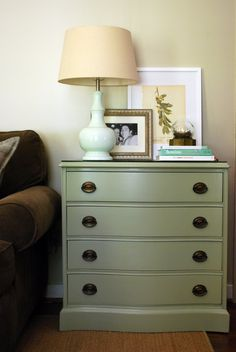 old chest of drawers redo - love the green