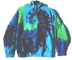 TIE DYE Hoody Sweatshirt Size 2X Vibrant BLUES & GREEN Fruit of the Loom XXL