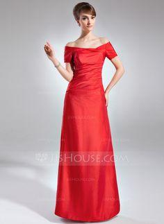 Sheath/Column Off-the-Shoulder Floor-Length Taffeta Mother of the Bride Dress With Ruffle (008020984) - JJsHouse