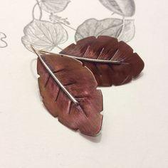 Falling leafs  earrings with heat treated copper by MONOtekst, $35.00