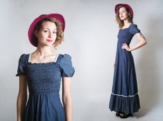 Coton à pois bleu marine Gunne SAX style volant robe / BOHO Hippie chick Prairie Country Maxi robe / Blue summer robe / taille XS - S